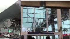 中国江西省の空港で屋根が崩落