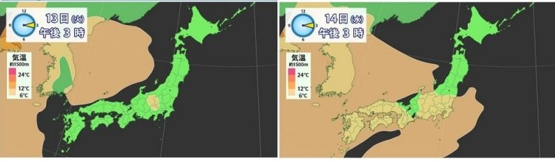 あす(14日)は、さらに気温高い