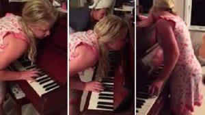 【夢遊病】夢中遊行中、ピアノを弾いちゃった少女