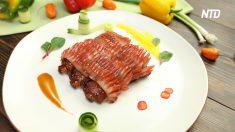 【グルメ】コウイカと豚バラの一品  シェフがイカを切る手つきに注目!