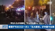 香港デモのスローガン「五大訴求」が中国に出現