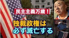 民主主義国家の国旗を掲げる中国人男性